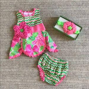 Mud Pie Dress, Bow, Diaper Cover Set—Brand New!